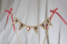 Wedding cake topper - Mr & Mrs burlap hessian bunting flag cake banner Customise with stencilled letters and red gingham ribbon trim on Etsy, $12.44