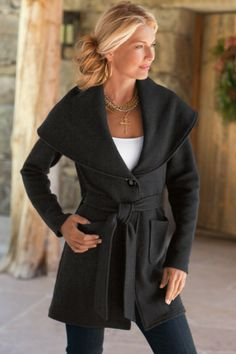 Villanova Sweater - Belted Jacket, Oversized Shawl Collar, Patch Pockets, Side Slits | Soft  Surroundings  LOVE THIS!!!