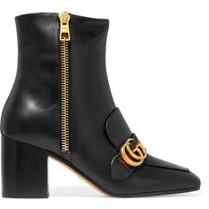 Gucci Leather ankle boots (1 320 AUD) ❤ liked on Polyvore featuring shoes, boots, ankle booties, gucci, black, black square toe boots, high heel boots, short black boots, leather boots and high heel booties