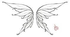 Black Outline Fairy Wings Tattoo Stencil By Bakero Ichiban Fairy Wings Drawing, Fairy Drawings, Butterfly Drawing, Outline Drawings, Butterfly Wings, Tattoo Drawings, Diy Fairy Wings, Pencil Drawings, Fairy Wing Tattoos