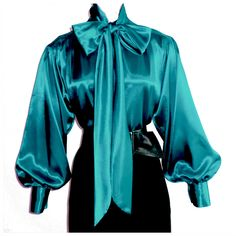TEAL BLUE Shiny LIQUID SATIN High Neck BOW BLOUSE vtg USA top S M L 1X 2X 3X #tamarstreasures #Blouse #EveningOccasion