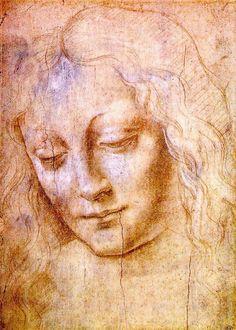 Head of a Young Woman by Leonardo da Vinci. One of my favorite paintings done by da Vinci Trois Crayons, Renaissance Kunst, Renaissance Artists, Italian Renaissance, Portraits, Fine Art, Michelangelo, Art Plastique, Famous Artists