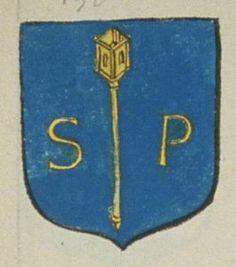 Le Prieuré de S.t Pierre de Seronne de Chateauneuf. Porte : d'azur, à un baton prieural d'or accosté de deux lettres S. et P. de même | N° 150 > Angers