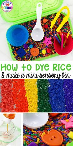 How to dye rice for sesnory plan and make mini sensory bins with pencil boxes. Just right fo rp reschool, pre-k, and kindergarten! Sensory Activities, Hands On Activities, Infant Activities, Sensory Play, Sensory Diet, Weather Activities, Sensory Boxes, Sensory Table, Student Cubbies