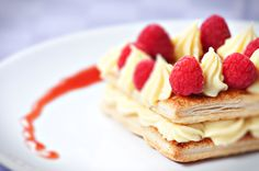 Raspberry tart with fresh cream in puff pastry :)