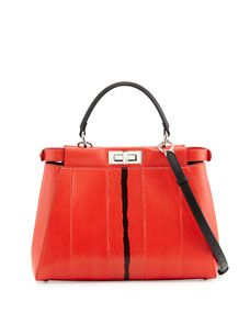Fendi Peekaboo Snakeskin Medium Tote Bag, Red-Orange/Black