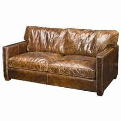 Distressed Leather Sofa   Broyhill