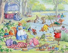 A Picnic by the Lake - with animals