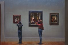 Busybodies, Oil on Canvas by William A. Suys Jr., OPA, at a Scottsdale art gallery