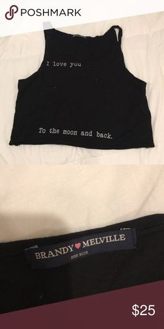 BRANDY MELVILLE CROP TOP Really cute fit. Reads: I love you to the moon and back. Great quality, not in stores anymore  •all offers 100% welcomed and encouraged (:  •put this in a bundle and get 20% off  • I'll ship orders within 1-2 days unless otherwise stated   Have a great day and enjoy shopping my closet ! Brandy Melville Tops Crop Tops