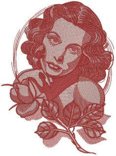 Femme fatale machine embroidery design. Machine embroidery design. www.embroideres.com
