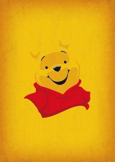 Winnie the Pooh Art Minimalist Pooh Retro Style by TheRetroInc
