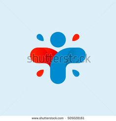 Isolated abstract colorful cross logo. Human silhouette logotype. Medical icon. Religious sign. Healthcare symbol. Hospital,clinic, doctor emblem. Vector illustration