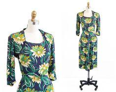 r e s e r v e d - vintage 1940s dress / 40s dress / Sunflowers and Ribbons Novelty Floral Print Rayon Dress