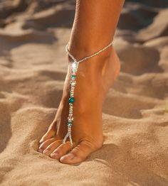 Something Blue Wedding Jewelry -Wedding Accessories Blue Swarovski Crystal Foot Jewelry -Bridesmaids Gift Jewelry -Beach wedding sandal