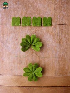 不织布 可爱简单的立体不织布四叶草DIY图解