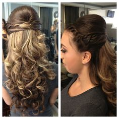 My curly half up do hair style for prom