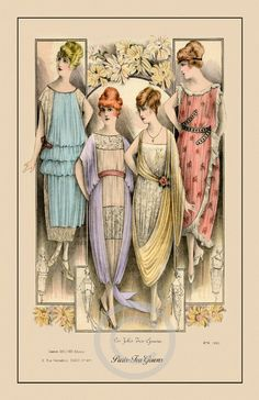 Beautiful Deco Fashion 4 Girls Elegant Paris Tea Gowns Lace Organdy Designer French date of 1920 Giclee Fine Art Print 11x17