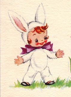 Vintage Bunny Girl Card