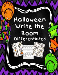 This differentiated Write the Room activity is a fun way to get students excited and engaged in centers.  Students will learn Halloween words and sentence structure while working independently. There are three levels in this packet:Level 1   Five sets of picture coded scrambled sentences.Level 2 --  Nine sets of picture & number coded scrambled sentences.
