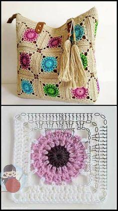 Crochet Cord, Crochet Mandala, Thread Crochet, Love Crochet, Crochet Motif, Crochet Baby, Crochet Blocks, Granny Square Crochet Pattern, Crochet Squares