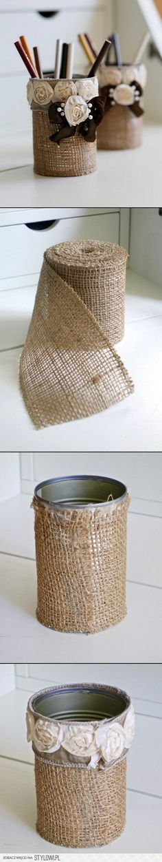For this rustic DIY burlap pencil holder you'll need burlap ribbon, rose ribbon, a can and pearl pins. Glue your burlap over the can in a. Tin Can Crafts, Cute Crafts, Diy And Crafts, Arts And Crafts, Burlap Projects, Burlap Crafts, Diy Projects To Try, Diy Pencil Case, Pencil Cases