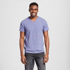 Mossimo Supply Co., Men's V-Neck T-Shirt Blue Heather L