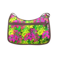 Flowers chaos in green, yellow and pinks Crossbody Bags (Model by Tracey Lee Art Designs Pink Crossbody Bag, Custom Bags, Art Designs, Tote Bags, Handbags, Yellow, Gift, Green, Artwork