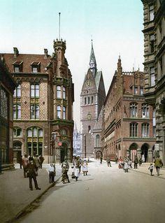 Hannover Marktkirche mit Rathaus (um 1895) - Маркткирхе (Ганновер) - Википедия