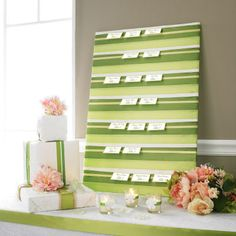 Michaels.com Wedding Department: Escort Card Board A creative way for your wedding guests to find their tables! Cover a board with layered ribbon to create a unique design, then line the board with guest place cards. It's as easy as that!