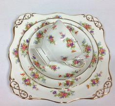 Tuscan English Vintage China Tea Set Tea Cup Trio & Bread Plate Pink Flowers