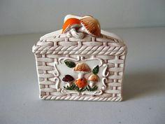 Vintage Merry Mushrooms napkin holder on Etsy, $12.00