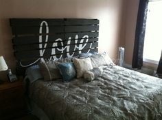 Pallet Headboard. I saw a similar idea originally on Pinterest so of course I had to run with it. I just added 24″ 2×4′s to the bottom to raise thepalletsto headboard level rather than drill into the wall. We did end up anchoring the pallets with brackets.