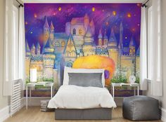 ohpopsi Fairytale Castle And Pumpkin Coach Wall Mural • Available in 2 sizes - L 3.0m (wide) x 2.4m (high) or XL 3.5m (wide) x 2.8m (high) • Mural supplied in 1 roll of 6 easy to hang 500mm wide strips (7 strips for XL) • Printed on a quality non-woven wall covering • Simply apply 'Paste-the-wall' wallpaper paste to the wall and then hang each strip • No horizontal joins to line up • No overlap on joins • Odourless ink • Made in Great Britain