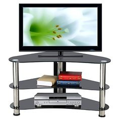 £35.99 Chinkyboo Corner TV Stand Black Glass Chrome Finish Legs 3 Shelf  Entertainment Unit Media