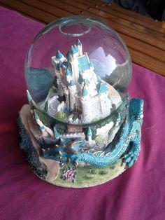 Sleeping Beauty Castle and Dragon Musical Snow Globe