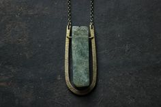Moss green prehnite Gemstone hammered brass necklace bar necklace- tribe boho necklace-Terrarium Necklace-geometric necklace-Peridot by xuanqirabbit on Etsy