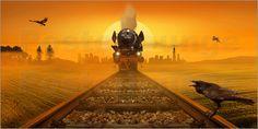 Poster: Dampflokomotive im Abendlicht - Romantic Wall Art by Mausopardia - Romantische Wandbilder von Mausopardia bei Posterlounge!