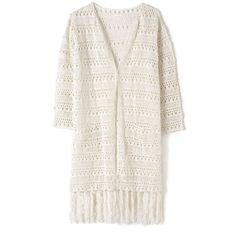 East Hand Crochet Long Cardigan ($49) ❤ liked on Polyvore featuring tops, cardigans, clearance, ivory, cotton cardigan, long fringe cardigan, fringe cardigan, white cotton tops and white fringe cardigan