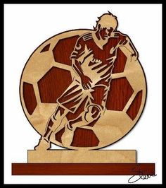 Soccer/Football Trophy Scroll Saw Pattern. Laser Cutter Projects, Cnc Projects, Football Trophies, Crystal Awards, Saw Wood, Laser Art, Spring Projects, Scroll Saw Patterns, Laser Engraving