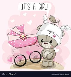 Greeting card it is a girl with baby carriage Vector Image Baby Silhouette, Baby Shower Greetings, Scrapbook Bebe, Baby Coming Home Outfit, Best Friend Drawings, Teddy Bear Pictures, Congratulations Baby, Baby Stickers, Baby Images