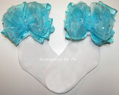 Glitzy Turquoise #Bow #Socks - #Summer #Pageant - by accessoriesbyme on #Etsy