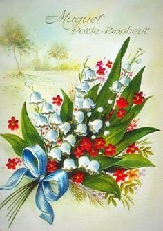 Vintage Cards, Vintage Postcards, 1. Mai, Painted Glass Vases, Xmas Greetings, Decoupage Box, Up Book, Lily Of The Valley, Rose Bouquet