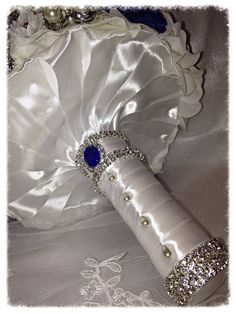 Deposit on made to order Heirloom Bridal Broach Bouquet. Broach Bouquet, Wedding Brooch Bouquets, Bridesmaid Bouquet, Blue Wedding, Wedding Colors, Swarovski Crystals, Blue Crystals, Topaz Gemstone, Wedding Stuff