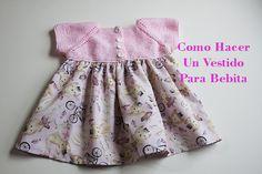 Hacer Tutorial Vestido Para Bebé - Tejido Y Tela siempre es lindo, pequeños y faciles de hacer, Knit Baby Dress, Crochet Baby Shoes, Crochet Baby Clothes, Knit Crochet, Sewing Baby Clothes, Doll Clothes, Knitting For Kids, Baby Knitting, Vestidos Bebe Crochet