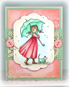 Walking in the Rain  A Day For Daisies digital stamp