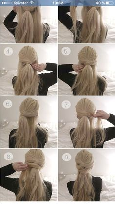 Brautfrisur - beautiful hair styles for wedding Pretty Hairstyles, Ladies Hairstyles, Hairstyles 2018, Easy Ponytail Hairstyles, Quick Easy Hairstyles, Hairstyles Videos, Easy Updos For Long Hair, Popular Hairstyles, Easy Hair Styles Long