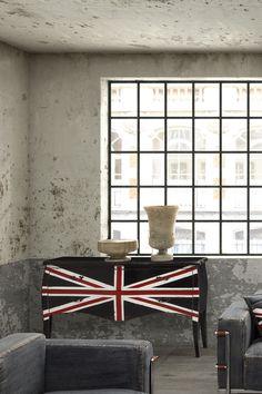 Union Jack Large Cabinet - Distressed Black on HauteLook