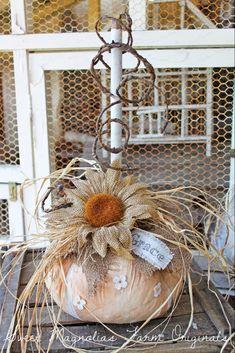 3 More . Sweet Magnolias Farm ~ Farmhouse Pumpkins now available ! Magnolia Farms, Sweet Magnolia, Magnolia Flower, Magnolia Homes, Wood Pumpkins, Fabric Pumpkins, Fall Pumpkins, Easy Primitive Crafts, Primitive Scarecrows