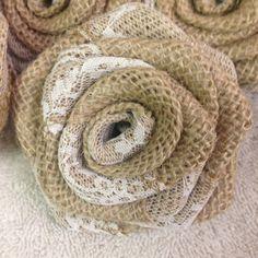 Jute Rose mit Lace-DIY Dekorationen-25 Rosen von BurlapRosesAnLace